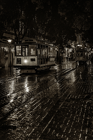 Cable car in the rain